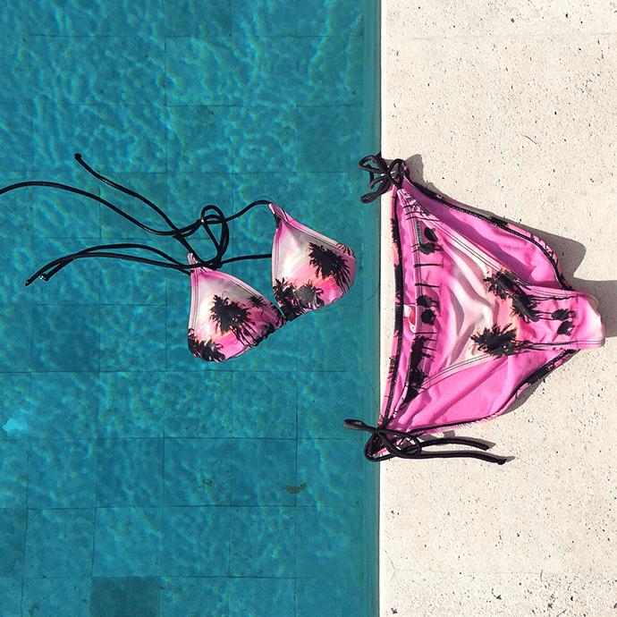 shiwi pink palm trees bikini